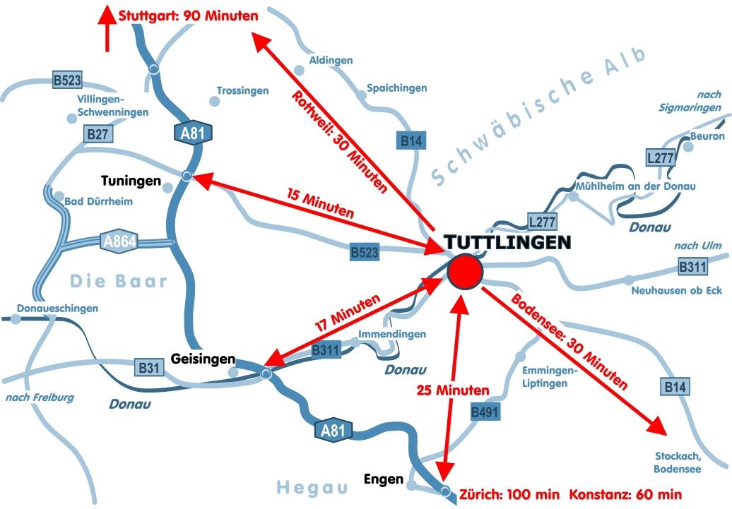 Anfahrt nach Tuttlingen von den Autobahnen