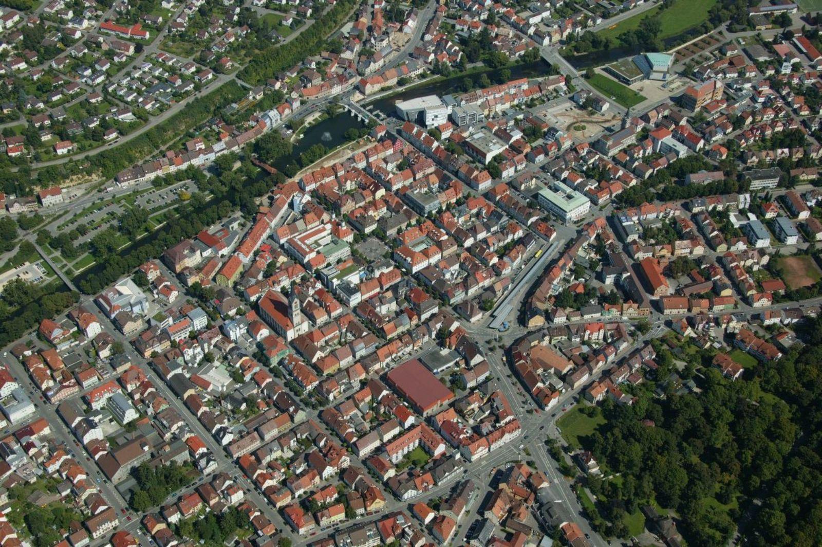 Luftbild des Stadtkerns