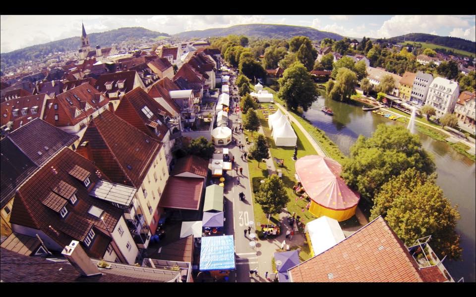 Weimarstraße von oben