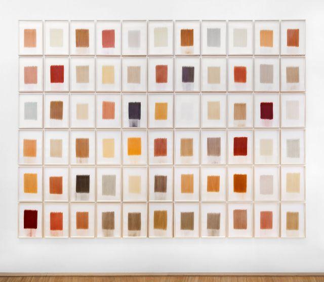 Galerie der Stadt Tuttlinngen EG, from earth: europe_2016,erdausreibungen auf papier,66 teile, rahmenformat 7o x 50 cm (h x b)gesamtbildgroße 4,35 x 5,75 m (h x b)