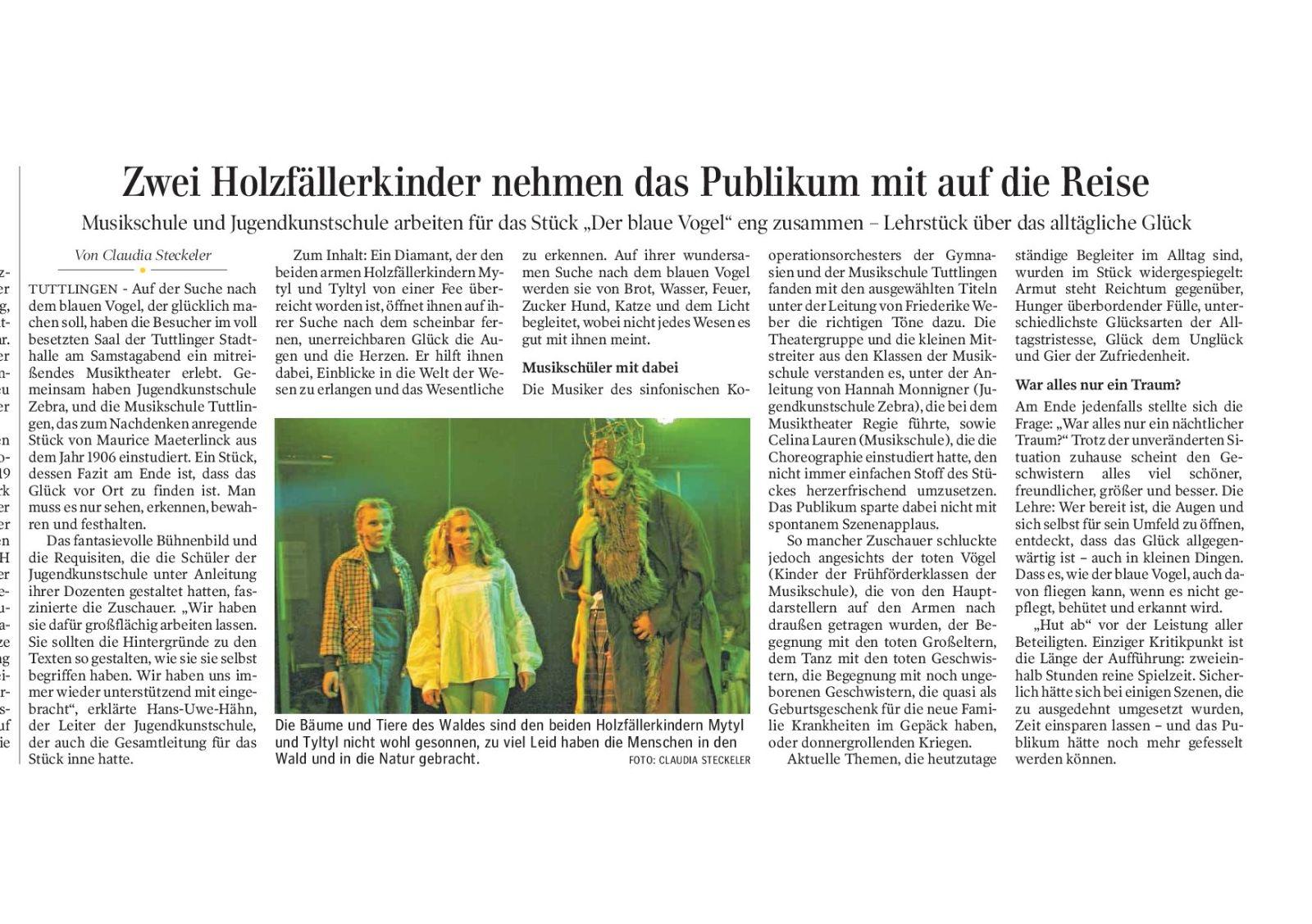 Pressebericht vom 17.12.2018 der Blaue Vogel - Quelle: schwaebische.de/Autorin Claudia Steckeler