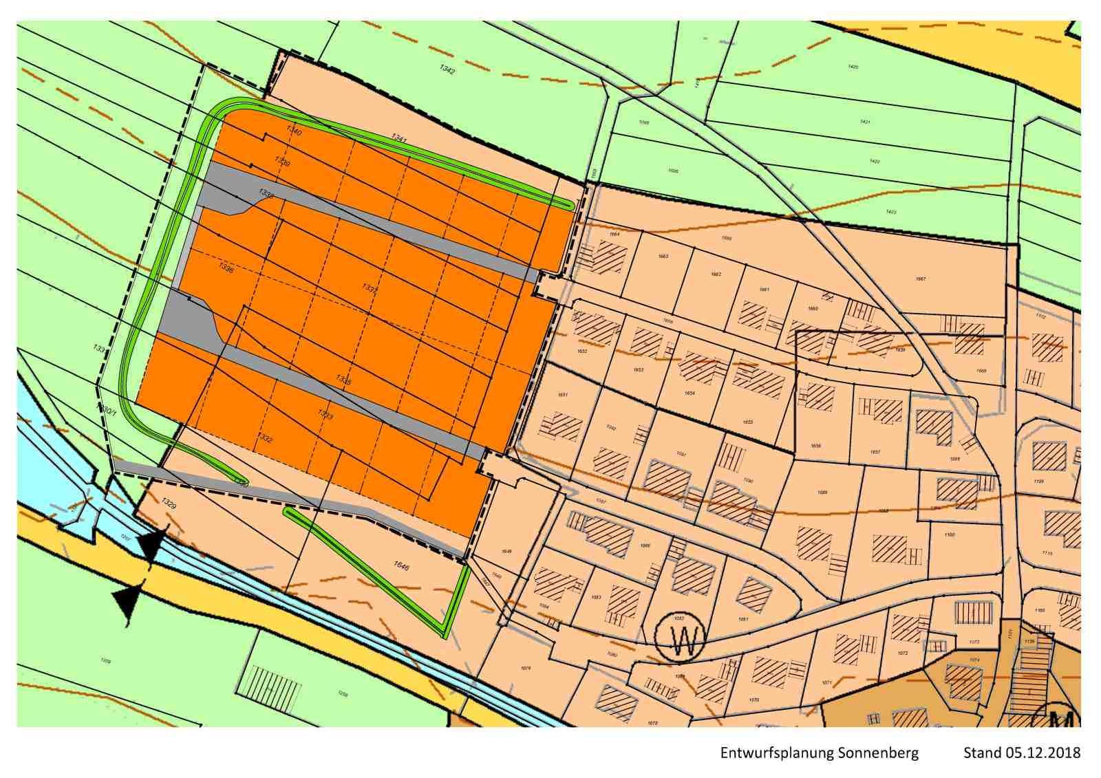 Bild der Planung vom Baugebiet Sonnenberg