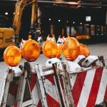 Eine Baustellenabsperrung