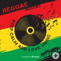 Bild mit Streifen im Hintergrund mit Reggae-Farben und mittig schwarze CD