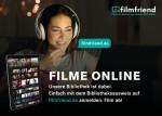 Frau mit Kopfhörern und Erklärung zu Filmfriend