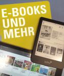 Tablet und Bildschirm von einem Laptop mit geöffneten E-Books zur Auswahl