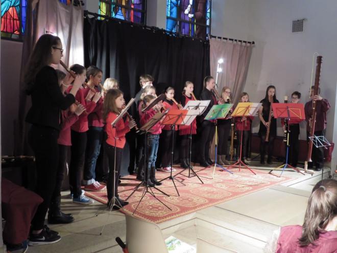 Auftritt der Musikschüler beim Blockflötenkonzert 2016