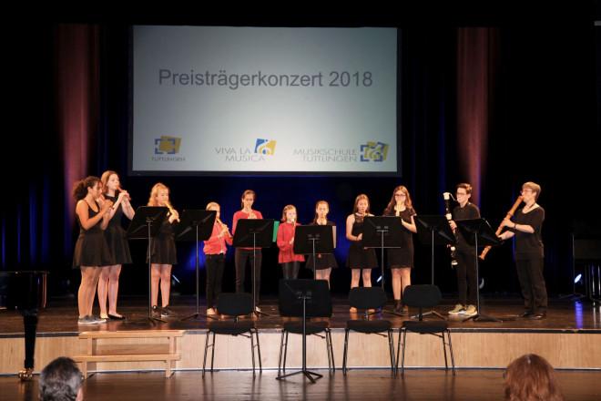 Flötenensemble beim Preistraegerkonzer t2018