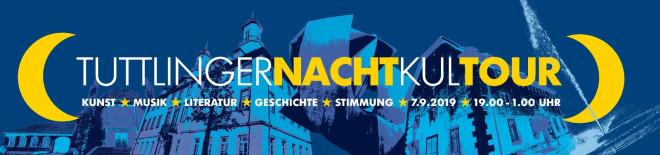 """Banner Nachtkultour 2019; dunkelblauer Hintergrund mit gelb-weißem Schriftzug """"Tuttlinger NachtKulTour"""""""