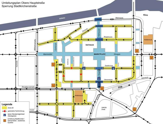 Plan mit den Umleitungen während der Bauarbeiten in der Fußgängerzone