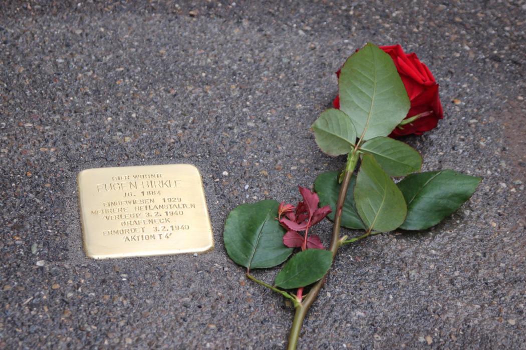 Rote Rose liegt neben verlegtem Stolperstein