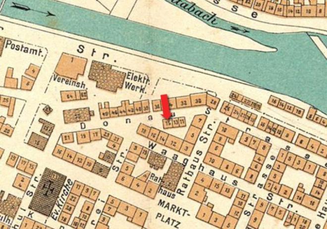 Karte von Tuttlingens Innenstadt, in der Bergers Wohnhaus um 1901 markiert ist
