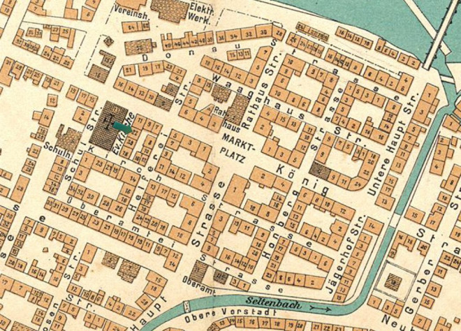 Auf einer Karte der Innenstadt von Tuttlingen ist das Haus der Kramers markiert