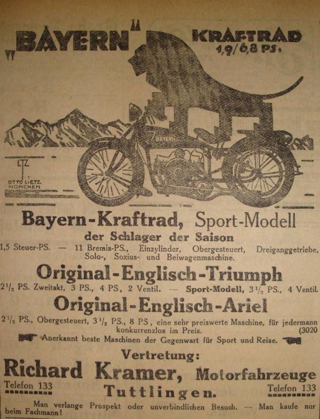 Plakat für Bayern-Kraftrad, Vertrieb durch Richard Kramer
