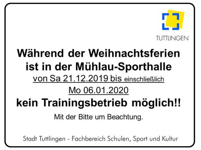 Hallenschließung Mühlauhalle_Weihnachtsferien 2019/2020