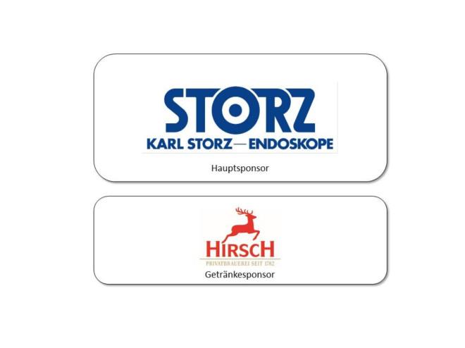Logos der Sponsoren der Sportlerehrung 2019: Hauptsponsor Karl Storz - Endoskope, Getränkesponsor Hirschbrauerei