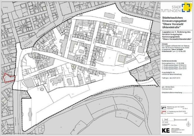 Abgrenzungsplan Sanierungsgebiet Obere Vorstadt mit Erweiterung Burgtheater