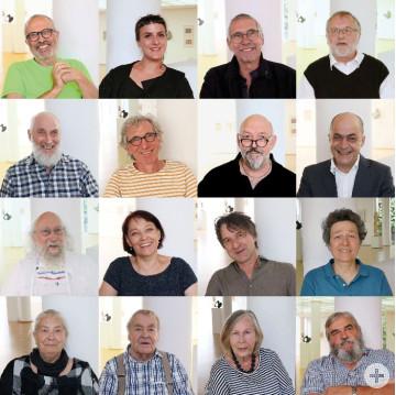 Bild mit zwölf Künstlerportraits