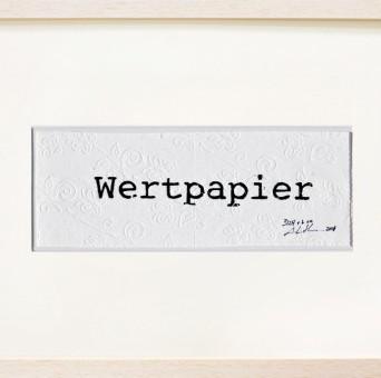 Bild Wertpapier Handdruck auf Toilettenpapier 2001 von Anja Luithle