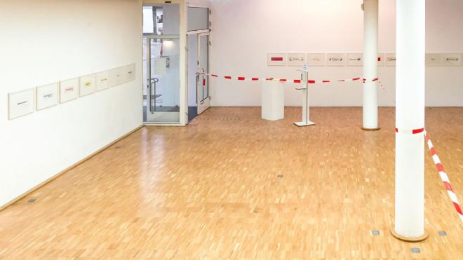 """Blick in die Galerie mit dem Ausstellungsprojekt """"Wertpapiere"""""""