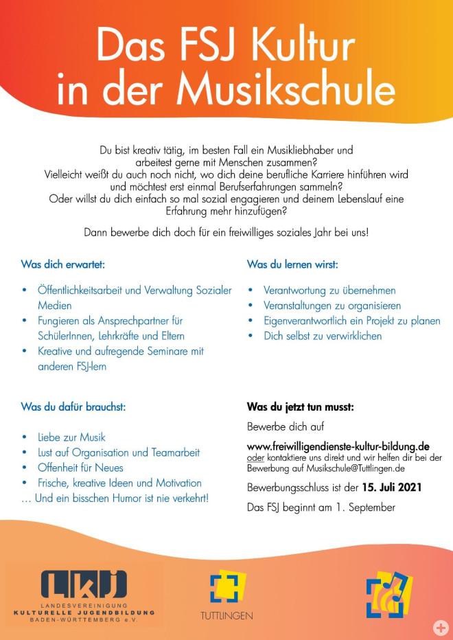 Flyer Freiwilliges Soziales Jahr in der Musikschule