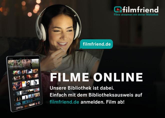 """Werbebild Filmfriend mit Aufschrift """"FilmOnline, Filme steamen mit deiner Bibliothek""""; Frau mit Kopfhörer vor Bildschirm"""