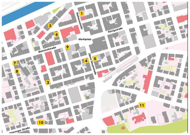 Innenstadtplan mit Nummern von 1 bis 11, die die Standorte der teilnehmenden Geschäfte anzeigen