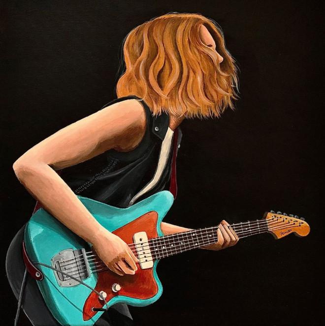 Gemaltes Bild von einer Frau, die E-Gitarre spielt