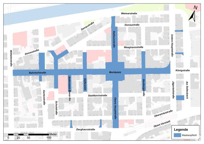 Innenstadtplan mit den Bereichen, in denen die Maskenpflicht gilt, blau eingefärbt