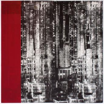 Kunstwerk von Ulrich J. Wolf, High City – Unikat, Radierung / Siebdruck / Foto-Aquatinta / Prägung, 115 x 160 cm