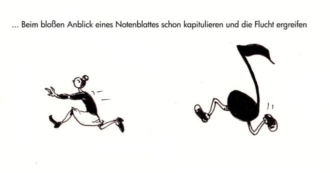 Karikatur, gezeichnete Figur flüchtet vor laufender Achtelnote