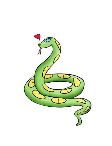 grüne-gelbe Comic-Schlange