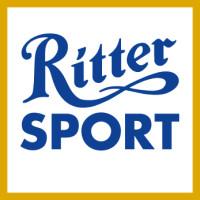 Logo Ritter Sport – blauer Schriftzug mit gelbem Umrahmung
