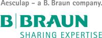 Logo BBraun – schwarz-grüner Schriftzug Aesculap – a B. Braun company. B|Braun SHARING EXPERTISE