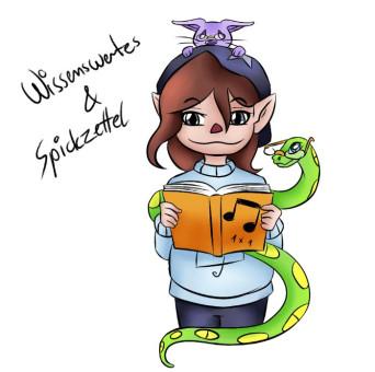 """Comic-Figur Elfe , Comic-Angsthase und Comic-Schlange mit Schriftzug """"Wissenswertes"""""""