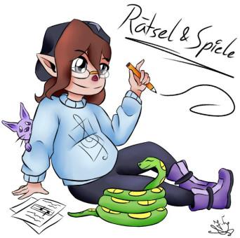 """Comic-Figur Elfe mit Stift in der Hand, Comic-Angsthase und Comic-Schlange mit Schriftzug """"Rätsel und Spiele"""""""