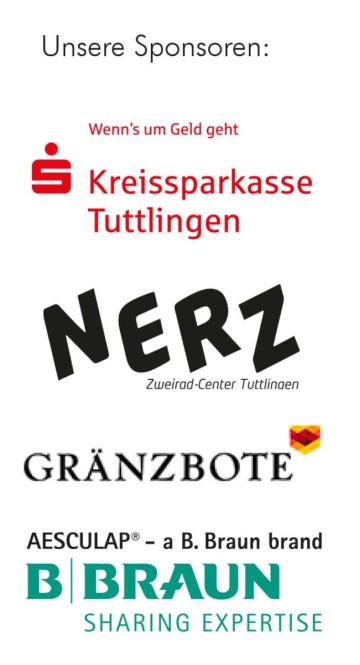 Sponsorenlogos von Kreissparkasse, Nerz, Gränzbote und Aesculap
