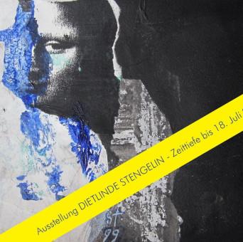 Werk der Künsterlin Dietlinde Stengelin, Die Malerin, 1999, Acrylfarben, Kopie, Papier, 20 x 26 cm mit gelber Banderole mit Hinweis der Öffnung bis 18.Juli 2021