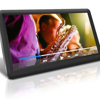 Bildschirm mit laufendem Video mit Saxophon beim Live-Auftritt