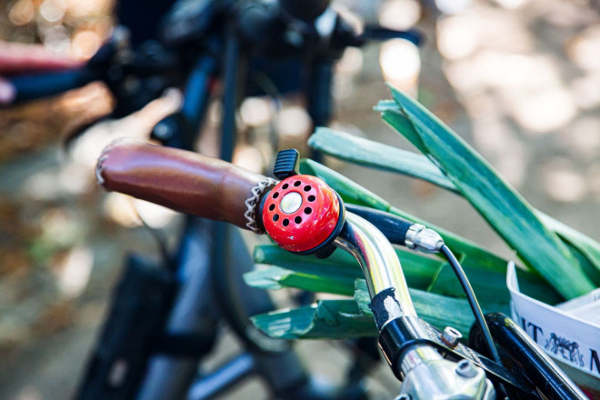 Eine rote Klingel an einem Fahrradlenker.