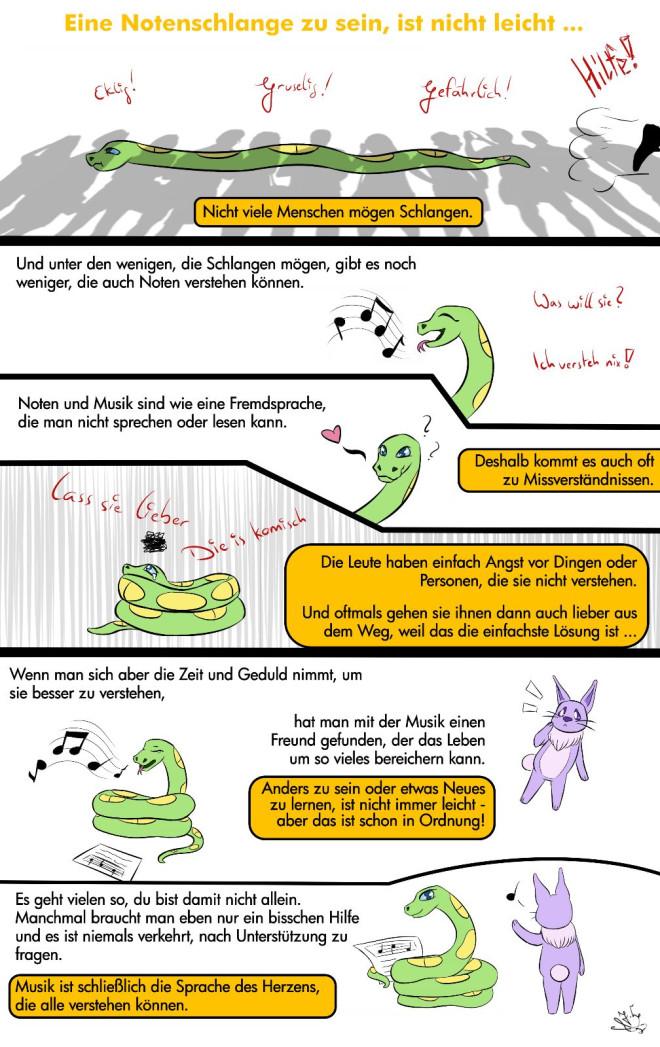 Plakat mit Comics und Erklärungshinweisen zur Musiktheorie