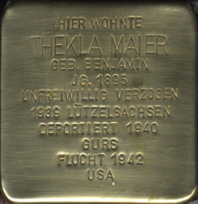 Stolperstein Thekla Maier
