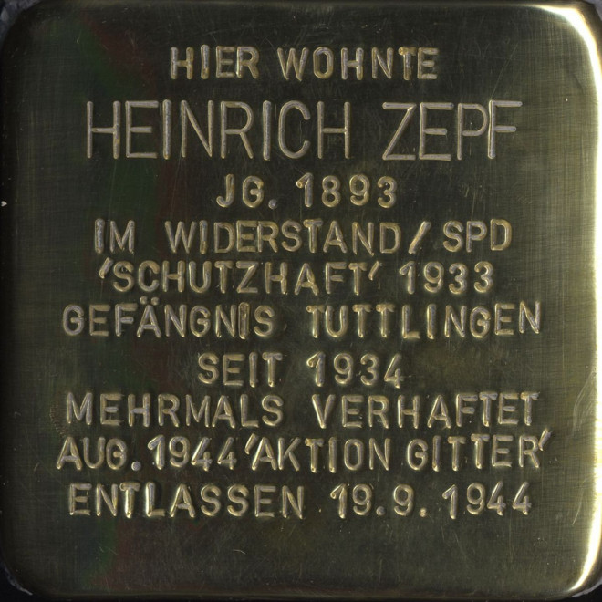 Stolperstein Heinrich Zepf
