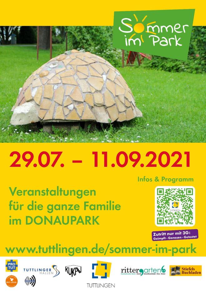 Plakat Sommer im Park 2021 mit Logo und Veranstaltungsdauer, Ort, QR-Code