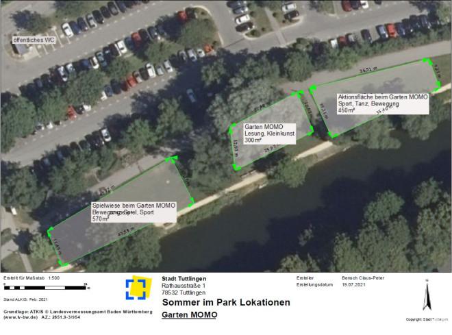 Lageplan der Lokationen Garten Momo